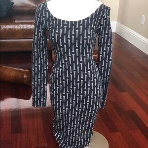M Vintage Betsy Johnson screw bodycon midi dress